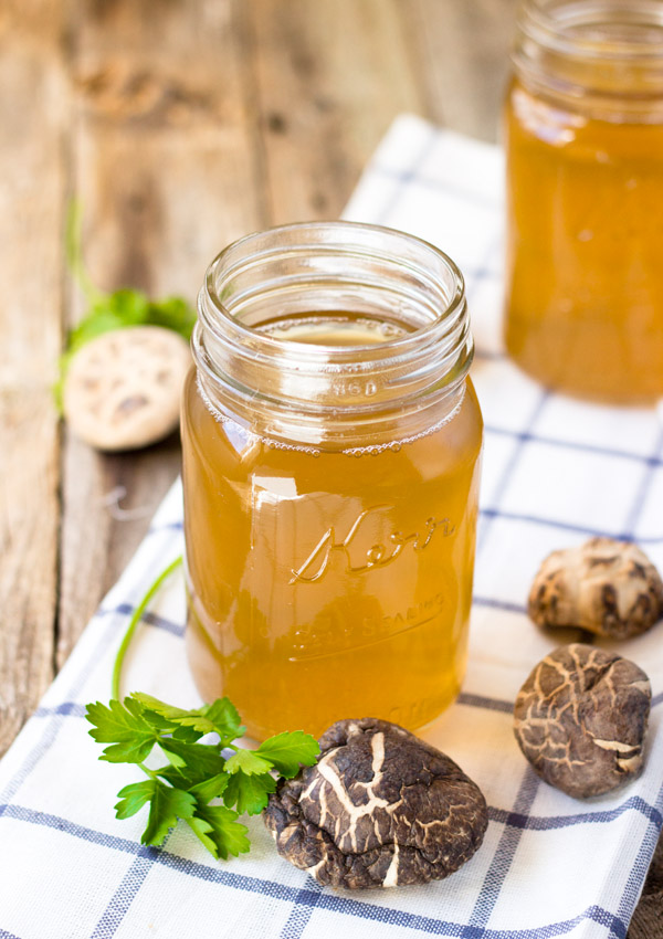 This homemade mushroom vegetable broth is a flavor enhancer. You can freeze it in a container and use it whenever you need to. It is healthy and thrifty.