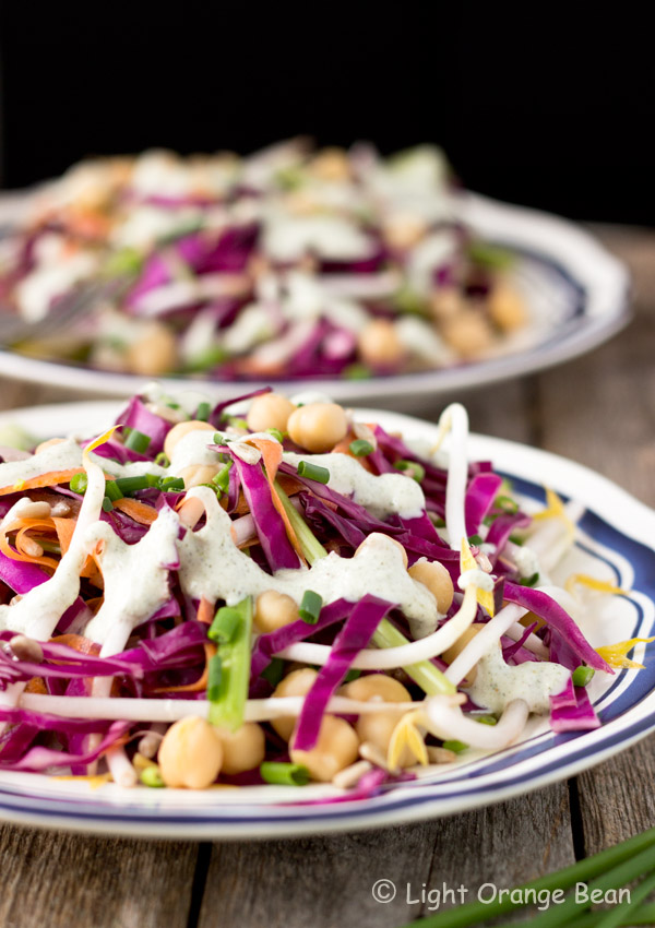 This red cabbage salad with jalapeño ginger dressing has an extremely fresh taste in every bite. The combination of jalapeño pepper and ginger adds a different spiciness to the creamy hemp seeds dressing. It is simple, flavorful, and healthy.
