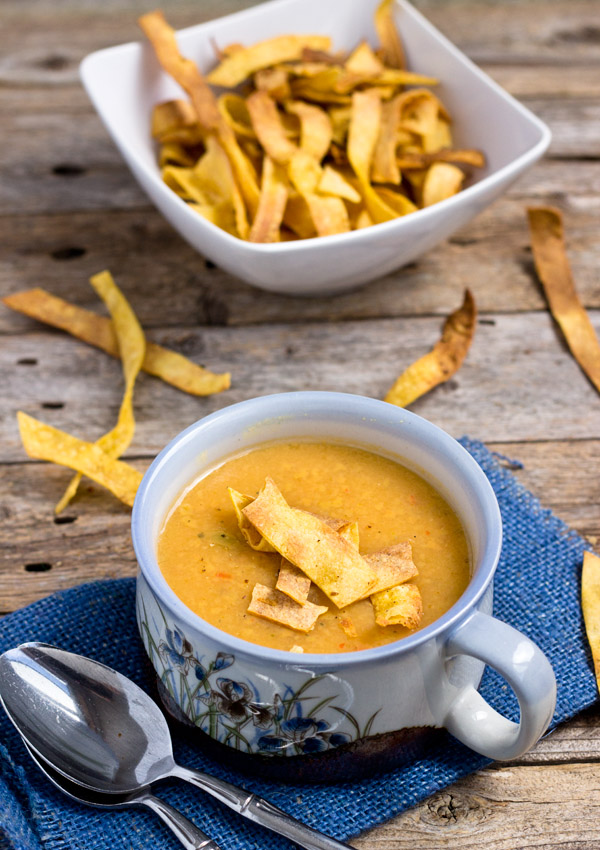 Curried Creamy Yellow Pea Soup with Crunchy Baked Tortilla Strips, gluten-free, vegan