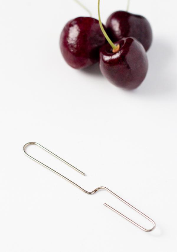 Homemade Cherry Pitter-paper clip method