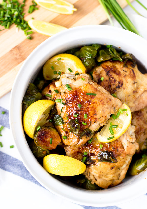 One Pan Lemon Chicken with Brussels Sprout