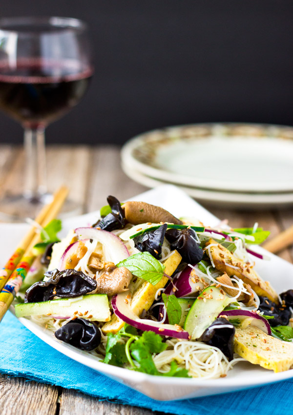 Roasted Tofu, Mushroom and Rice Vermicelli Salad