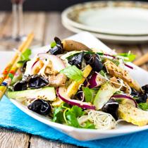 Roasted Tofu, Mushroom and Rice Vermicelli Salad