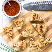 Yeast Dough Gluten-Free Scallion Pancakes with Spicy Ginger Sauce