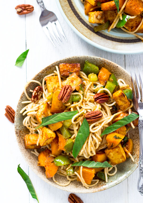 Basil and Roasted Butternut Squash with Spaghetti