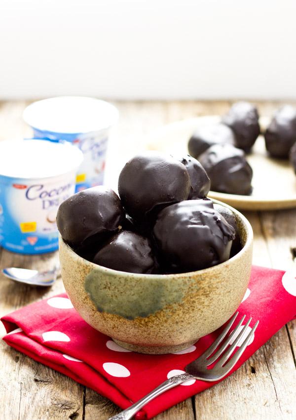 Dark Chocolate Coconut Yogurt Cake Bites