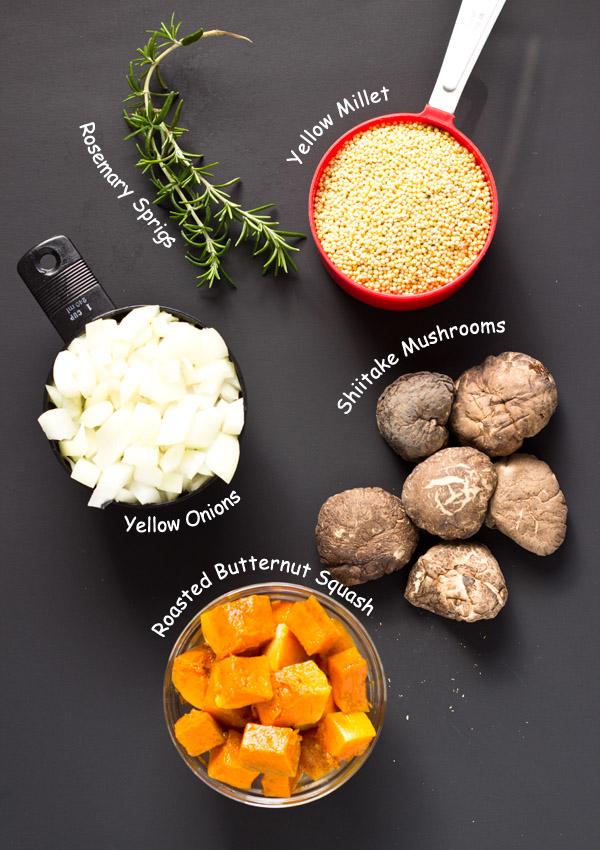 Mushroom and Butternut Squash Millet Pilaf