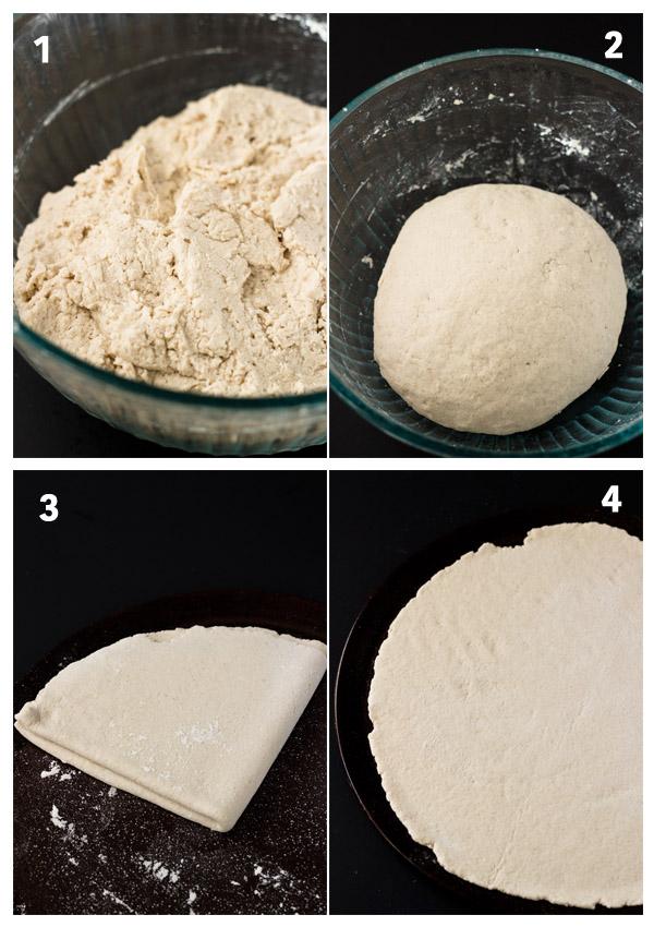 eggplant hummus pizza-dough combine