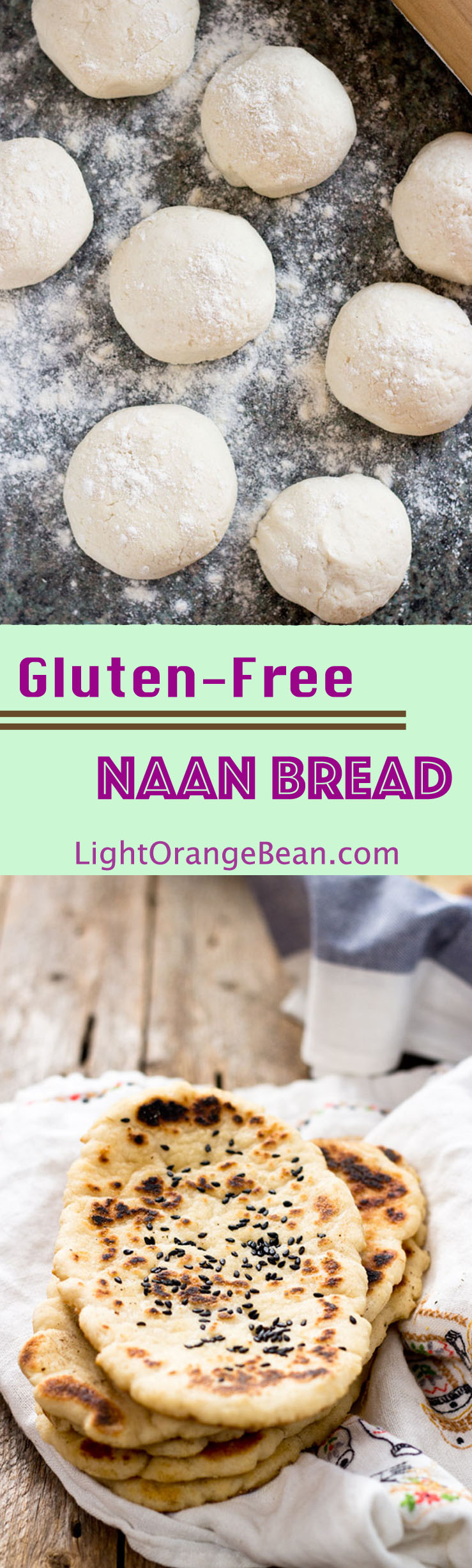 This pillowy gluten-free soft naan is the best gf flatbread I've ever had.  You can use it to scoop other foods, such as sauce or dips, like you would do in an authentic Indian restaurant. (#vegan #vegetarian #glutenfree #Indianfood #homemadenaan #naan #naanbread)