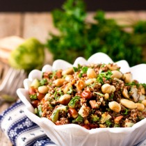Red Quinoa Salad Bowl with Peanut