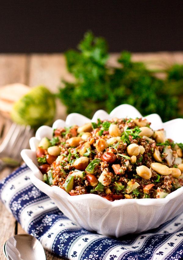 Red Quinoa Salad Bowl with Peanut