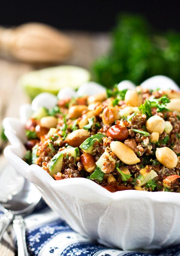 Red Quinoa Salad Bowl with Peanuts