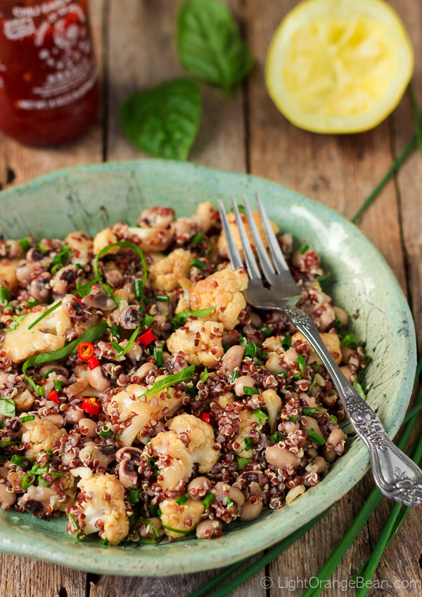 blackeyed pea salad with quinoa and spicy cauliflower