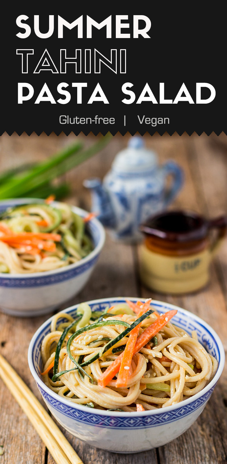 Summer Tahini Pasta Salad-front-top view-two bowls of salads garnished with cucumber and carrot