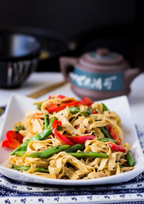 Chinese Tofu Noodles Stir Fry Light Orange Bean