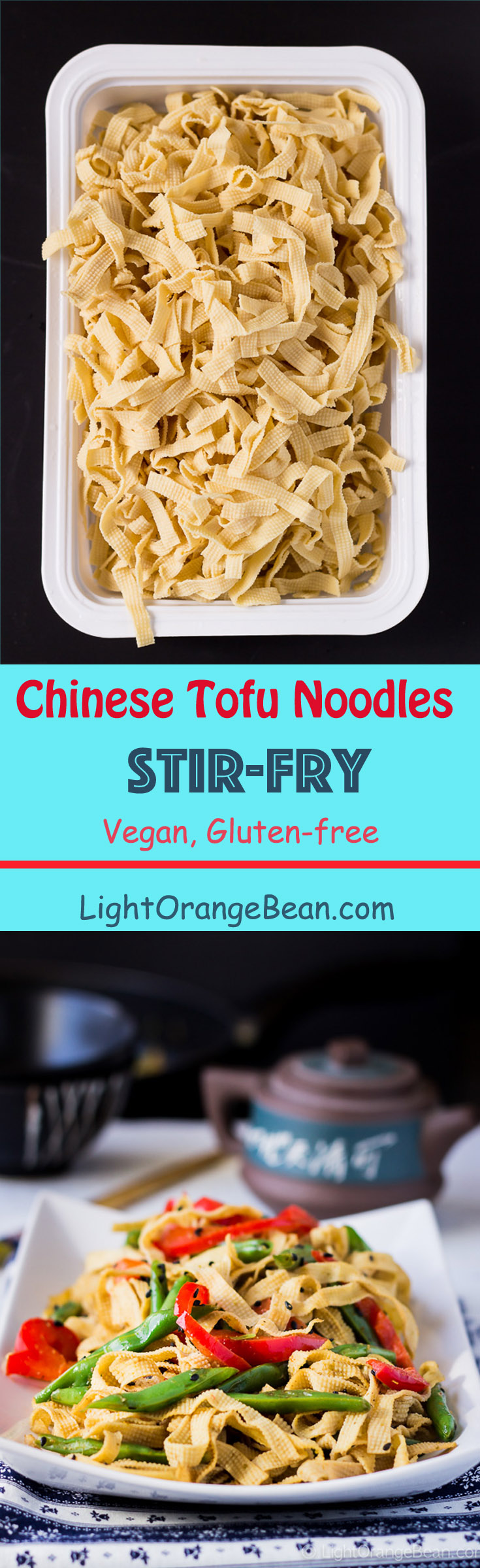 This Chinese tofu noodles stir-fry is a high protein and low carb dish that you can prepare in 10 minutes.  Adding a touch of green curry paste gives this dish a nice kick.(#Chineserecipes #tofurecipes #vegan #glutenfree #glutenfreevegan #Chinesevegan #glutenfreeChinese #plantbased #plantpowered #Chinesestirfry)