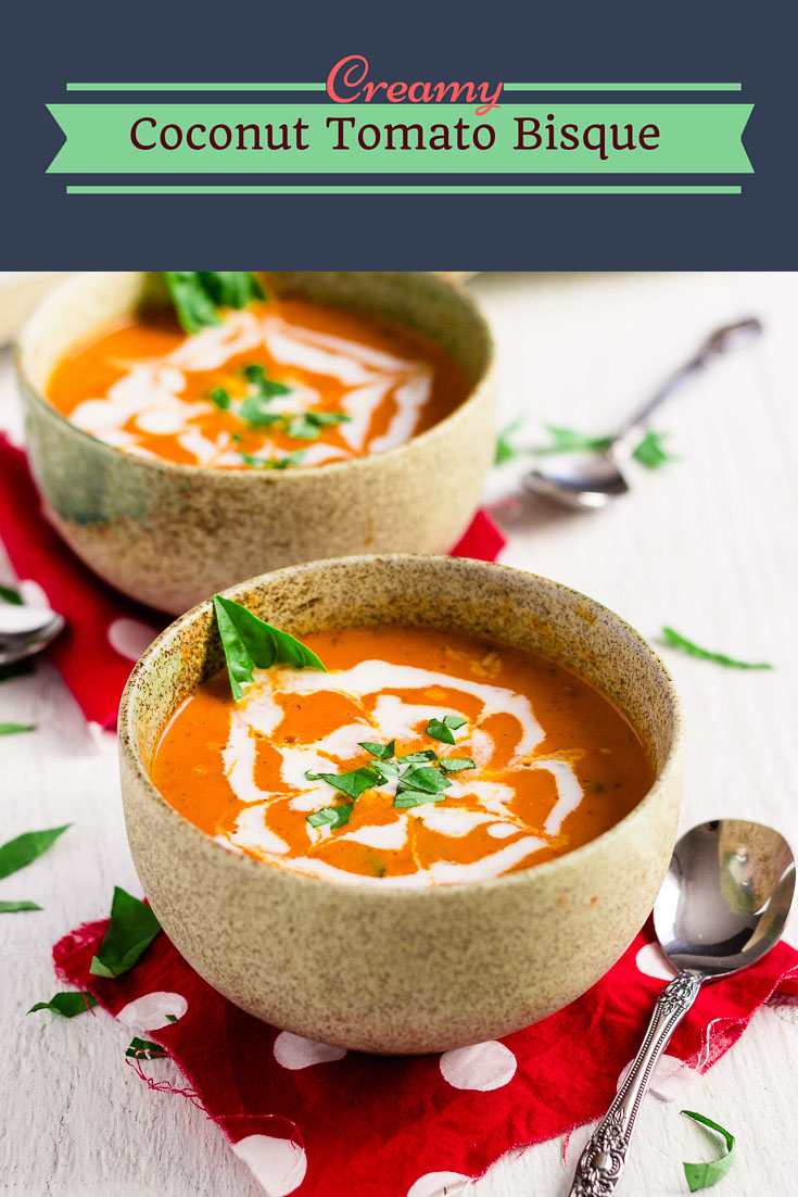 This creamy coconut tomato bisque is the one you will want to drown yourself in. It's rich, creamy, and infused with intense herb flavors.  (#vegan #glutenfreesoup #vegansoup #tomatobisque #homemadebisque #veganbisque #glutenfreebisque #glutenfreevegan)