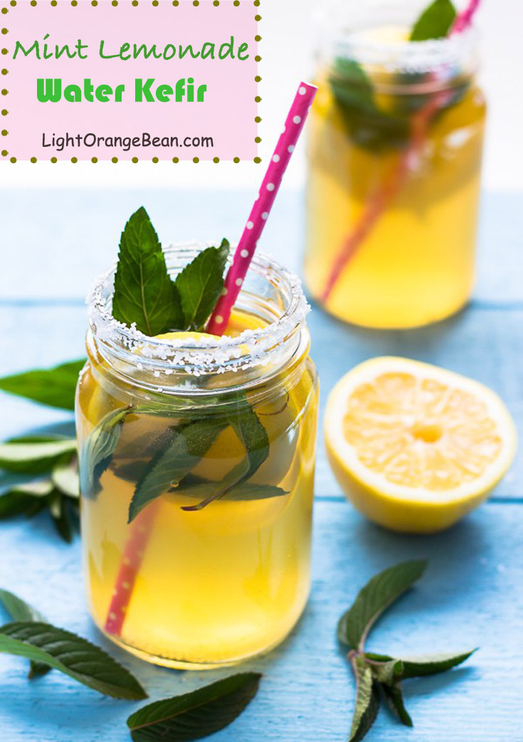 You won't be disappointed with this mint lemonade water kefir. It is a healthy, low sugar, and probiotic rich drink that can quench your thirst on the hot summer days.