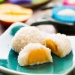 Sugar-free Coconut Mango Mochi-mochi on a green plate, showing mochi mango filling
