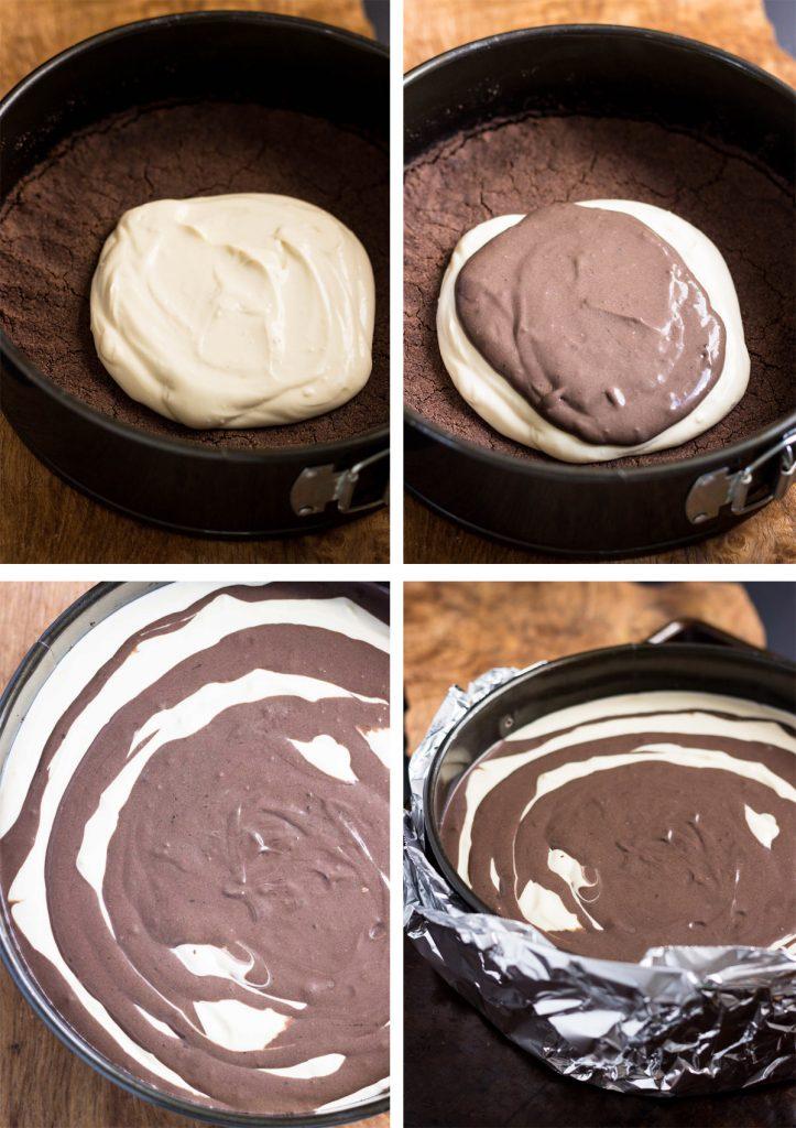 Low Carb Zebra Cheesecake