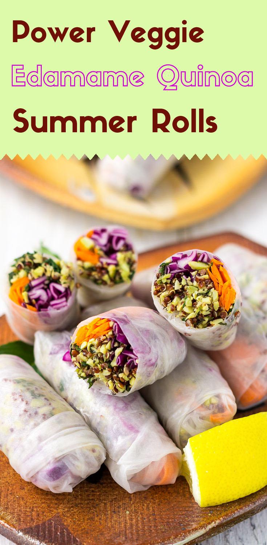 Power Veggie Edamame Quinoa Summer Rolls