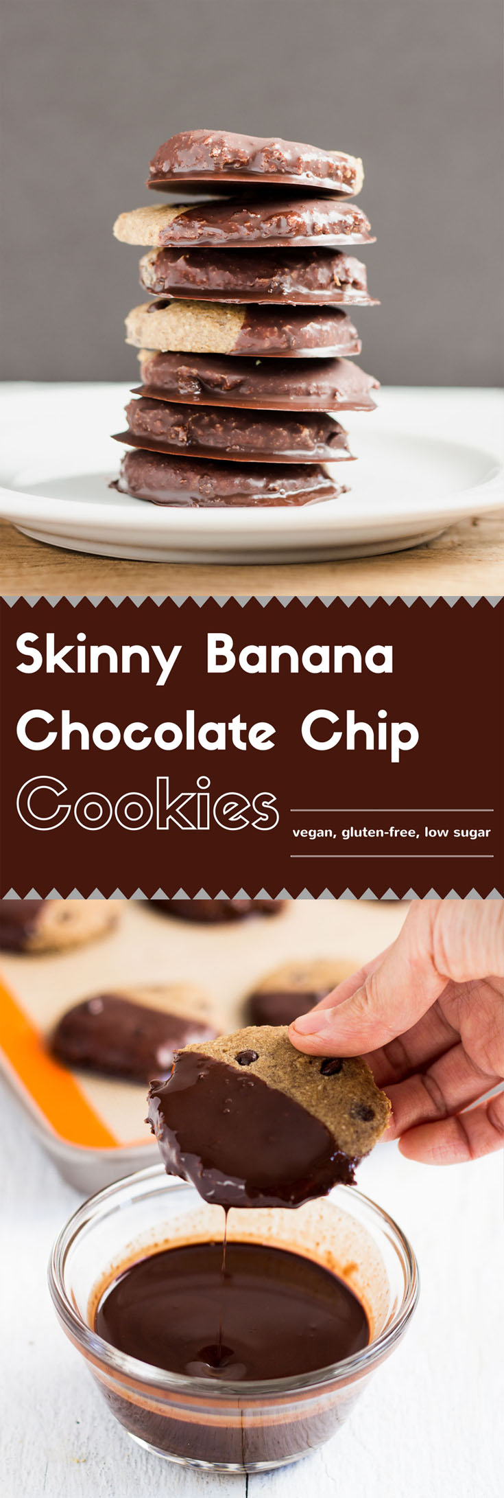 These skinny banana chocolate chip cookies are soft, chewy, and sweet.  The thin sweet chocolate shell adds even more fun and texture to the cookies.