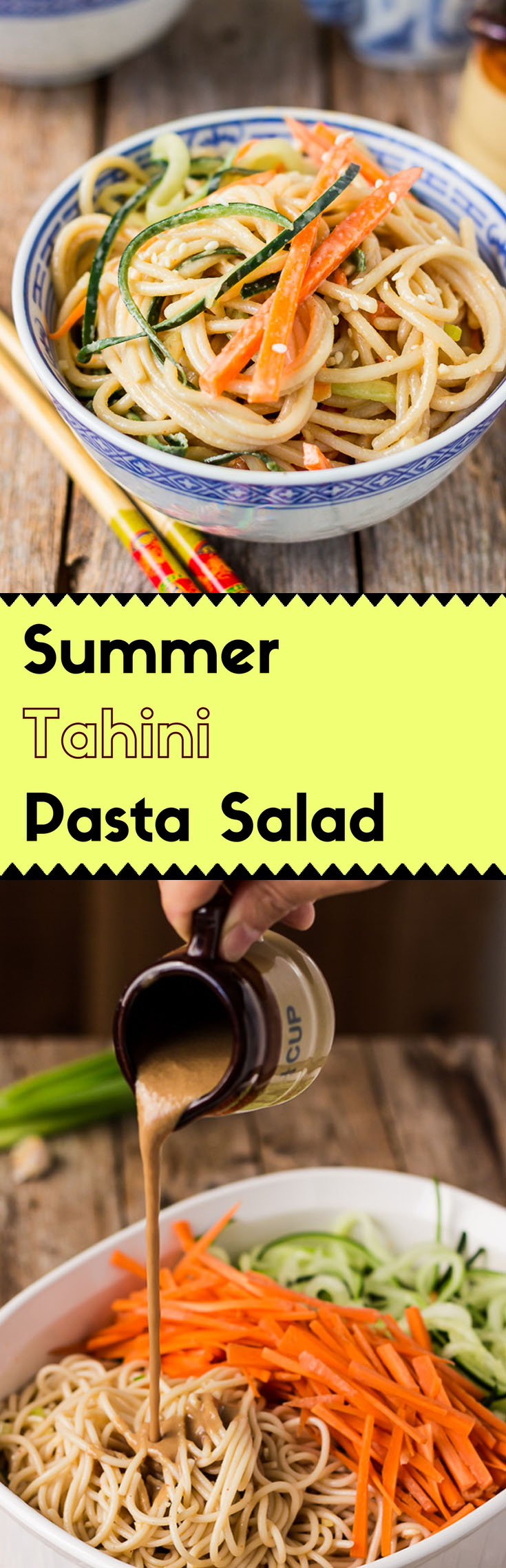 With its rich tahini sauce and refreshing cucumber and carrots, this summer tahini pasta salad will rock your summer. (#vegan #glutenfree #glutenfreepasta #vegansalad #tahinipasta #AsianSalad #AsianPasta #Chineserecipe #potluckrecipe)
