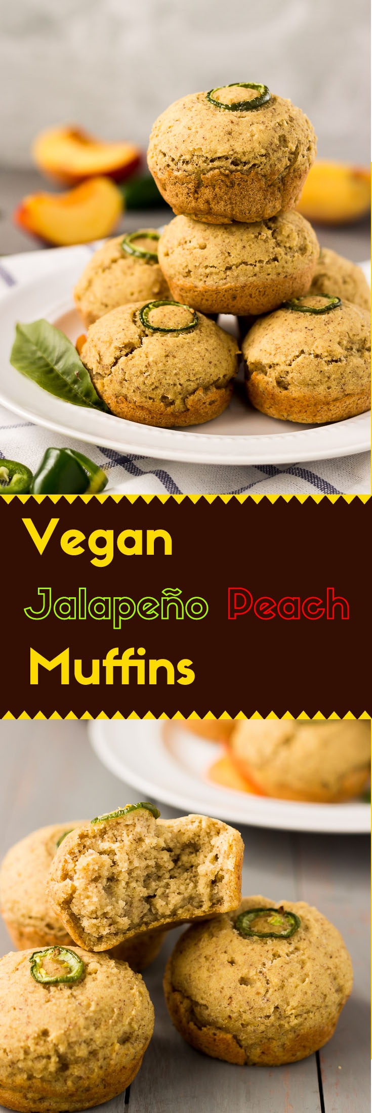 Give new life to your breakfast with these sweet and spicy vegan Jalapeño peach muffins. The enriched peach flavor with a bit touch of heat is just perfect to kick off the day.  (#vegan #glutenfree #muffins #glutenfreebaking #glutenfreevegan #glutenfreemuffins #glutenfreebreakfast #veganbreakfast)