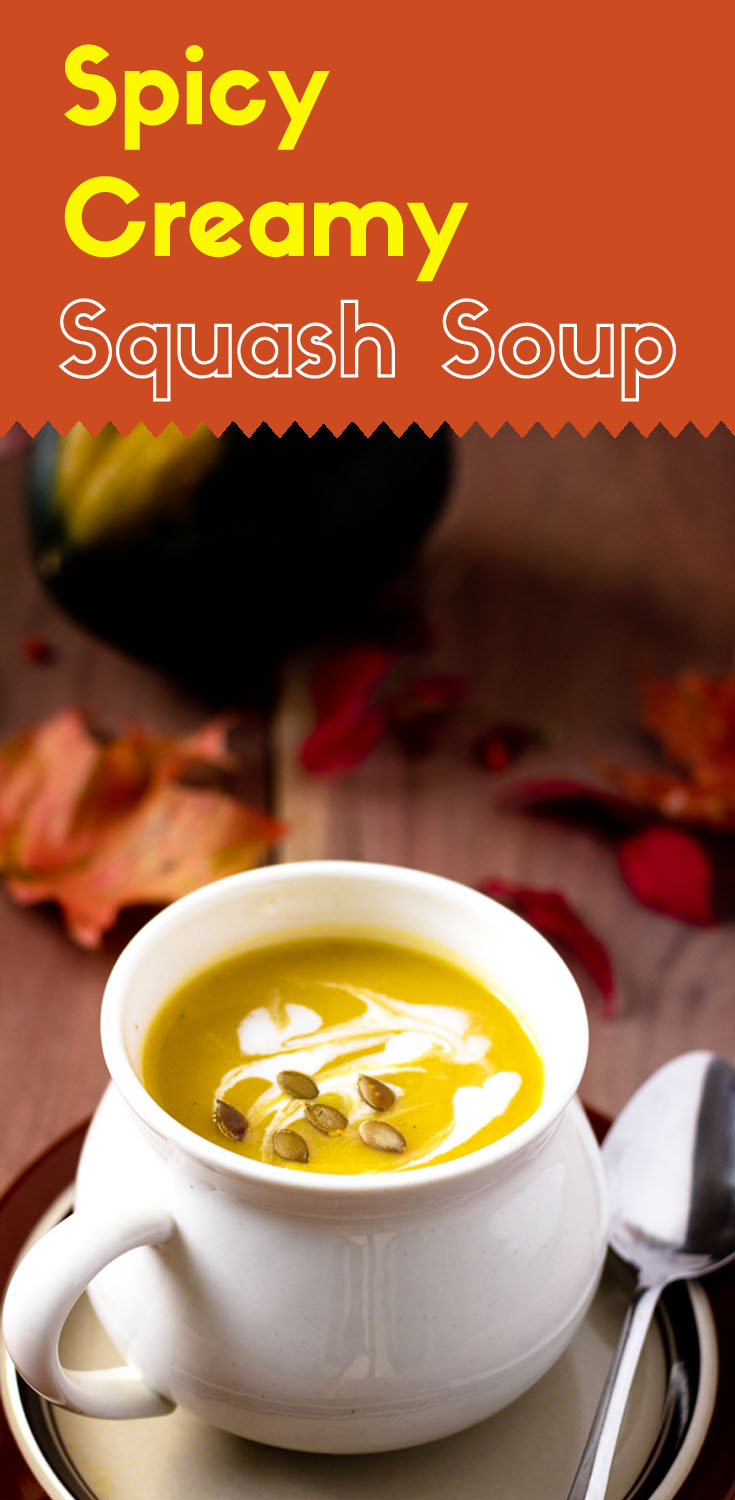 Coconut cream adds a hearty richness to this creamy squash soup. With the contrast spiciness from the roasted garlic and hot pepper, it is great for any occasion.