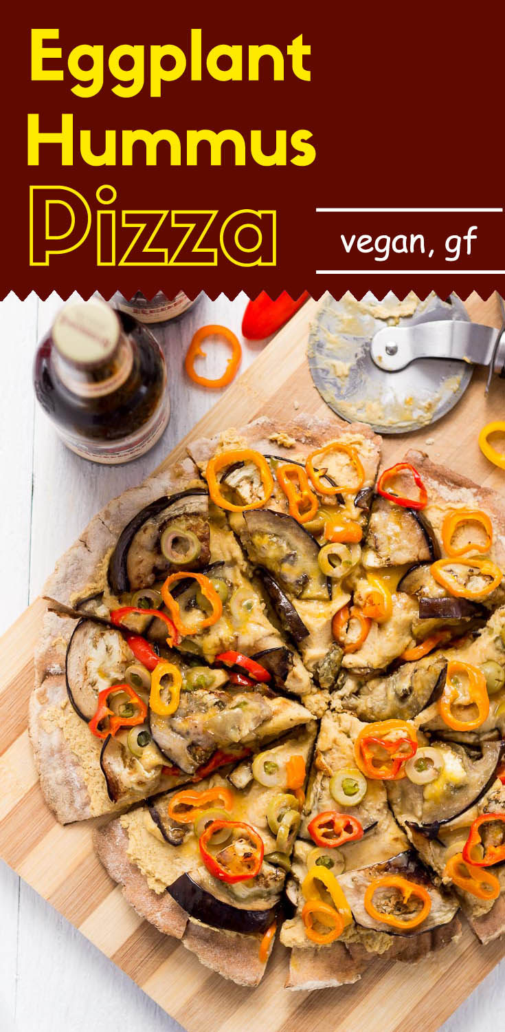 This #vegan, #glutenfree, thin crust eggplant hummus pizza is super satisfying, even though it lacks all of the traditional pizza ingredients. (#glutenfreepizza #veganpizza #hummuspizza #pizza #glutenfreevegan #plantbasedpizza #plantbased)