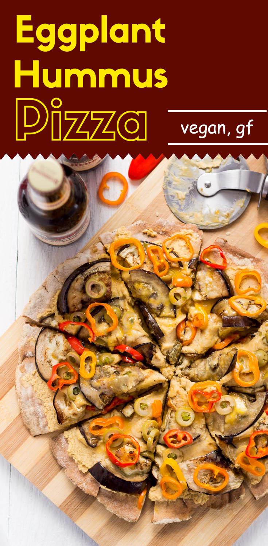 Eggplant Hummus Pizza (GF/Vegan)