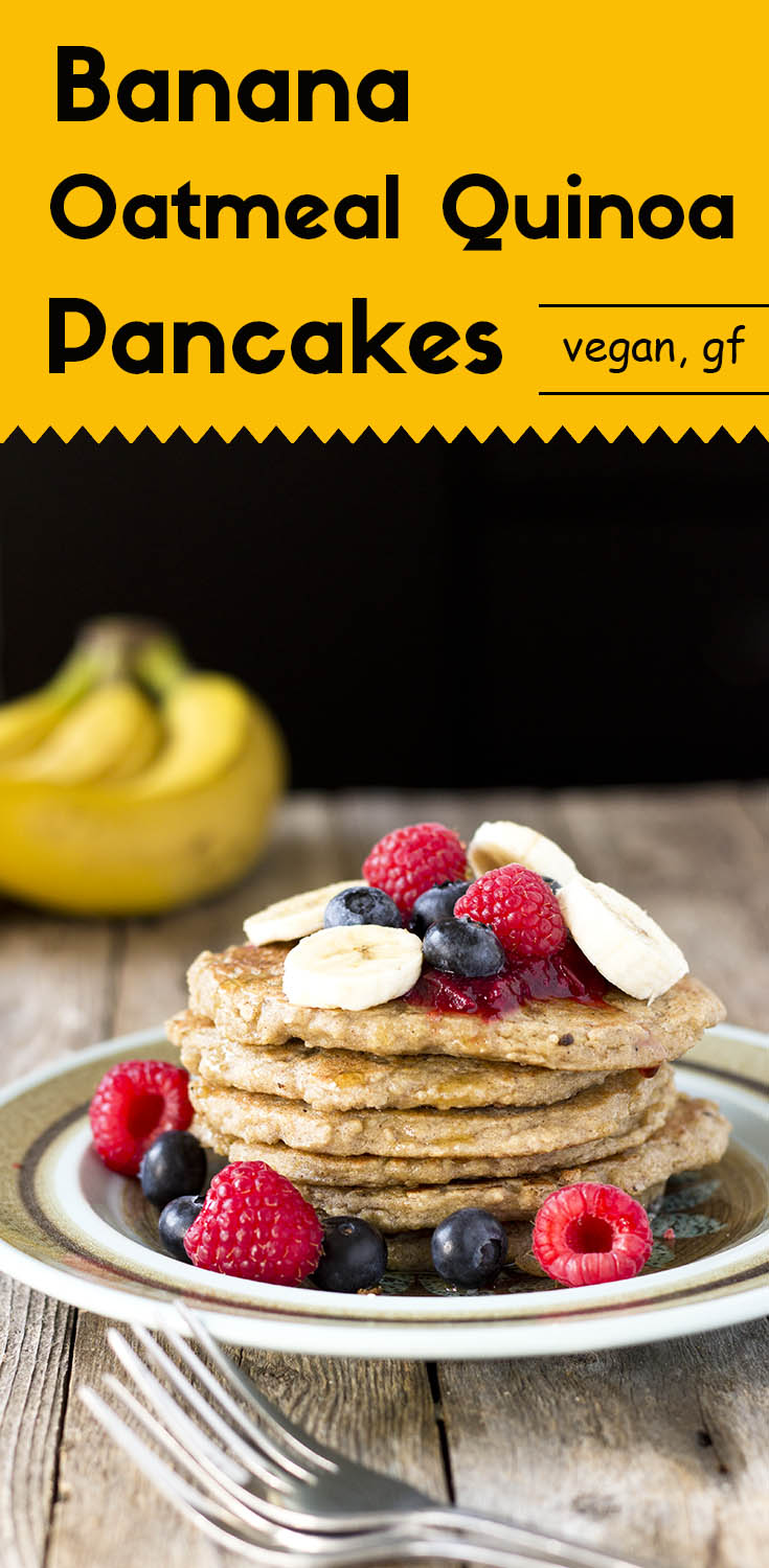 These vegan, and gluten-free oatmeal quinoa pancakes are sweet, soft, and moist. They have a rich banana flavor with a mild nutty taste from the quinoa. (#glutenfreebreakfast #glutenfreepancake #veganpancake #glutenfreevegan #plantbased #healthybreakfast #oatmealpancake #bananapancake #lowsugar)