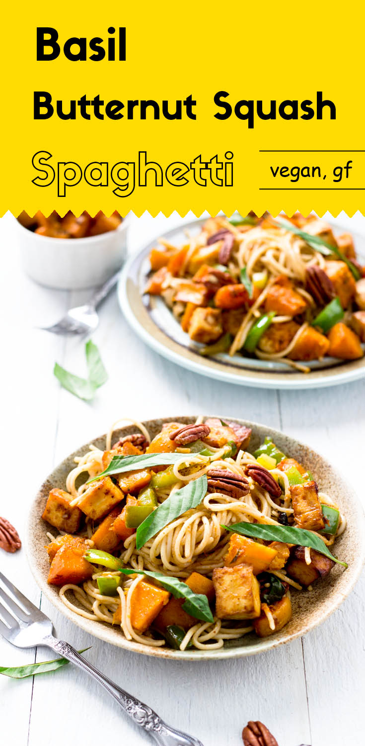 The golden roasted butternut squash, the perfectly seasoned tofu cubes, and the fresh green basil all come together to make this spaghetti an amazing dish.