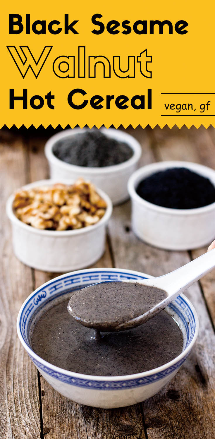 This homemade sugar free black sesame walnut hot cereal is warm, nutritious, and healthy. It's very easy and quick to make at home with only five ingredients.