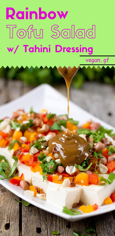 Rainbow Tofu Salad with Tahini Dressing