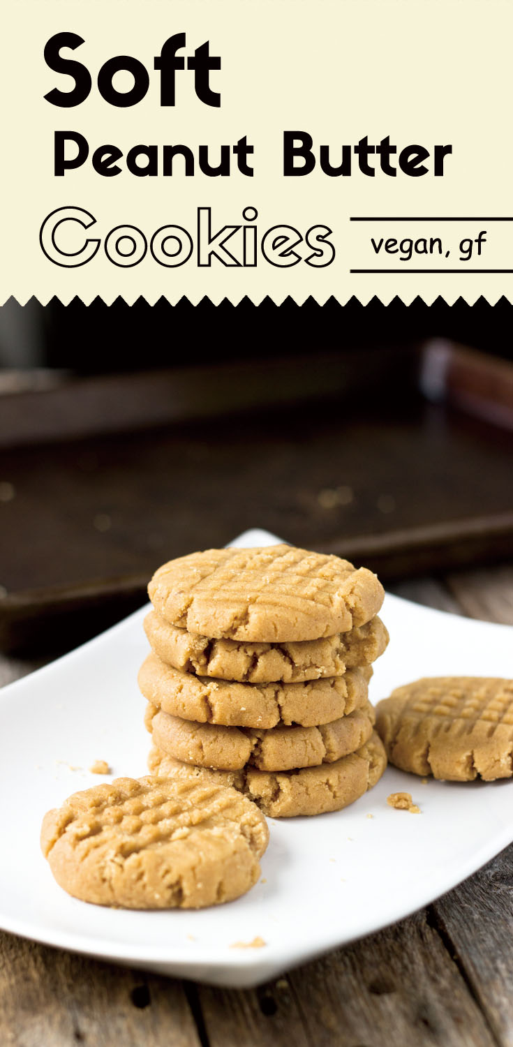These gluten-free vegan buttery soft peanut butter cookies, made with creamy natural peanut butter, are savory and sweet in every bite. (lowsugarcookies #glutenfreecookies #cookies #vegancookies #glutenfreevegan #peanutbuttercookies #plantbased #plantpowered)