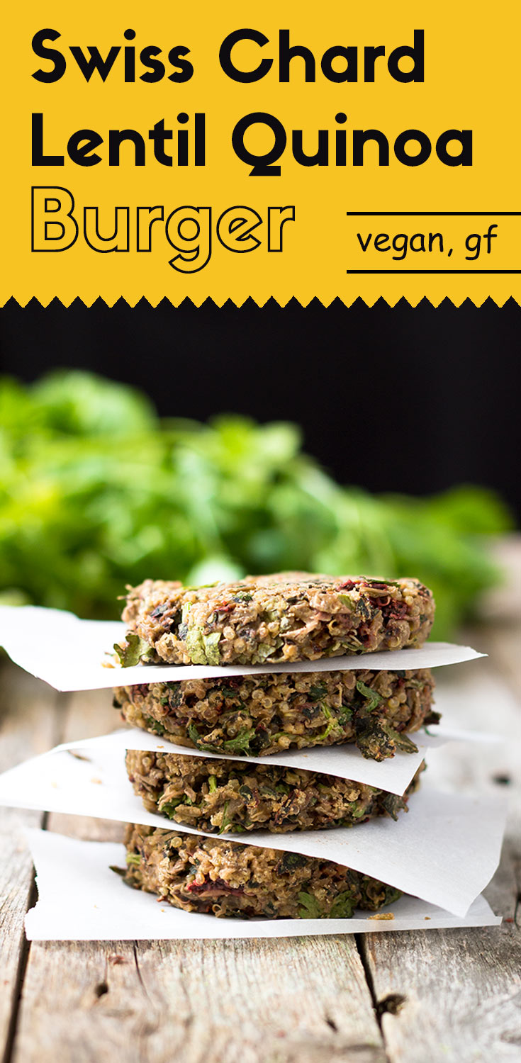 These swiss chard lentil quinoa burgers are crunchy and chewy. The addition of tahini and cilantro significantly enhanced the flavor. Vegan/Gluten-Free