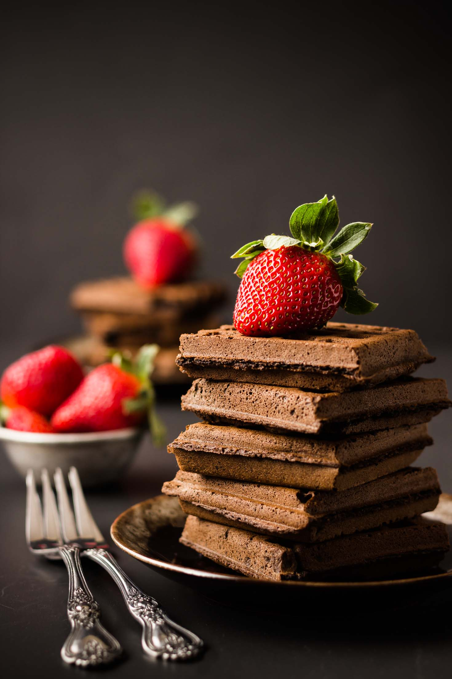 Gluten-free Double Chocolate Teff Waffles