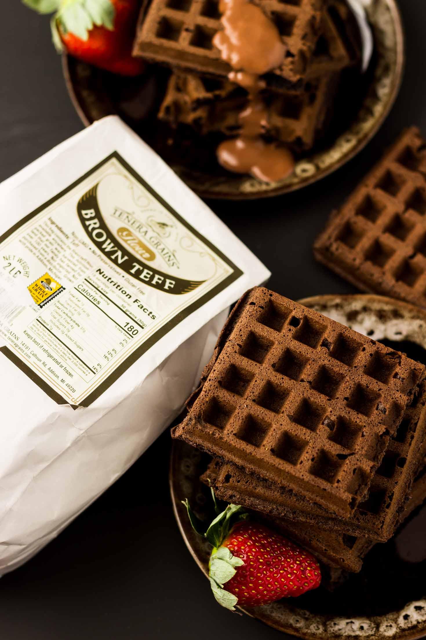 Gluten-free Double Chocolate Teff Waffles (Vegan)