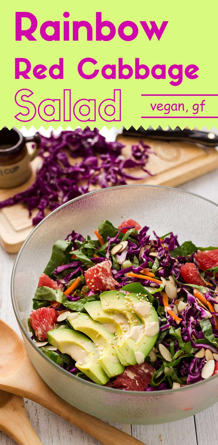 Please fill your bowl with this healthy, appealing, and delectable rainbow red cabbage salad. (#vegan #glutenfree #salad #rainbowsalad #redcabbagesalad #healthysalad #wintersalad #foodphotography #plantbased #vegetable)