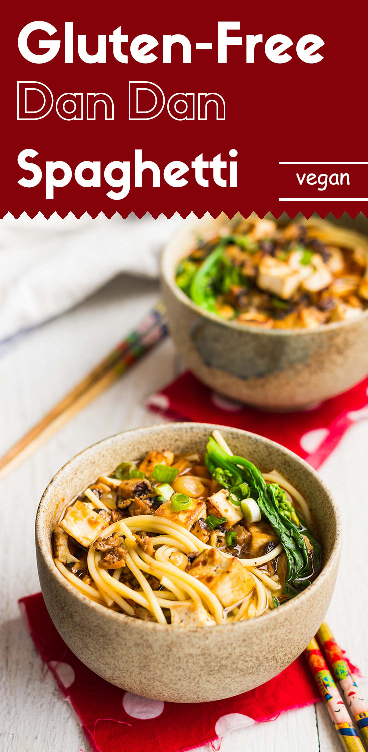 This authentic Sichuan style gluten-free dan dan spaghetti is going to wow your significant other. I guarantee you won't find anything like this that's both gluten-free and vegan in any Chinese restaurant.  (#WonderfulYourWay #ad #dandannoodles #glutenfree #glutenfreevegan #vegandinner #glutenfreedinner #glutenfreeAsian)