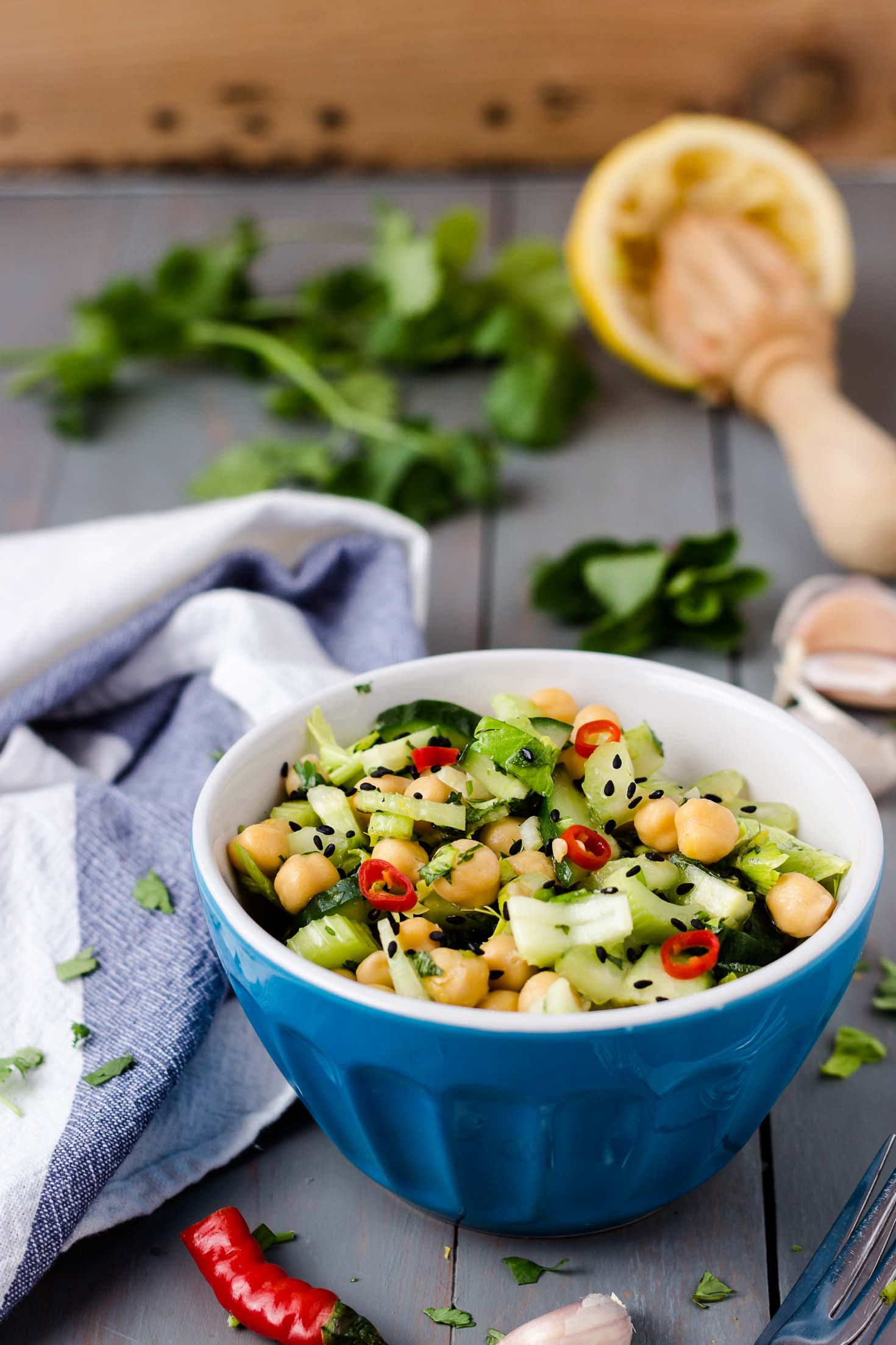 Celery Cucumber Chickpea Salad