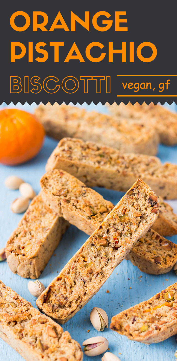 These hearty baked gluten-free orange pistachio biscotti are zesty, nutty, and crunchy.  You definitely don't want to miss them with a cup of hot tea or coffee. (Gluten-free | Vegan | Sugar-free).