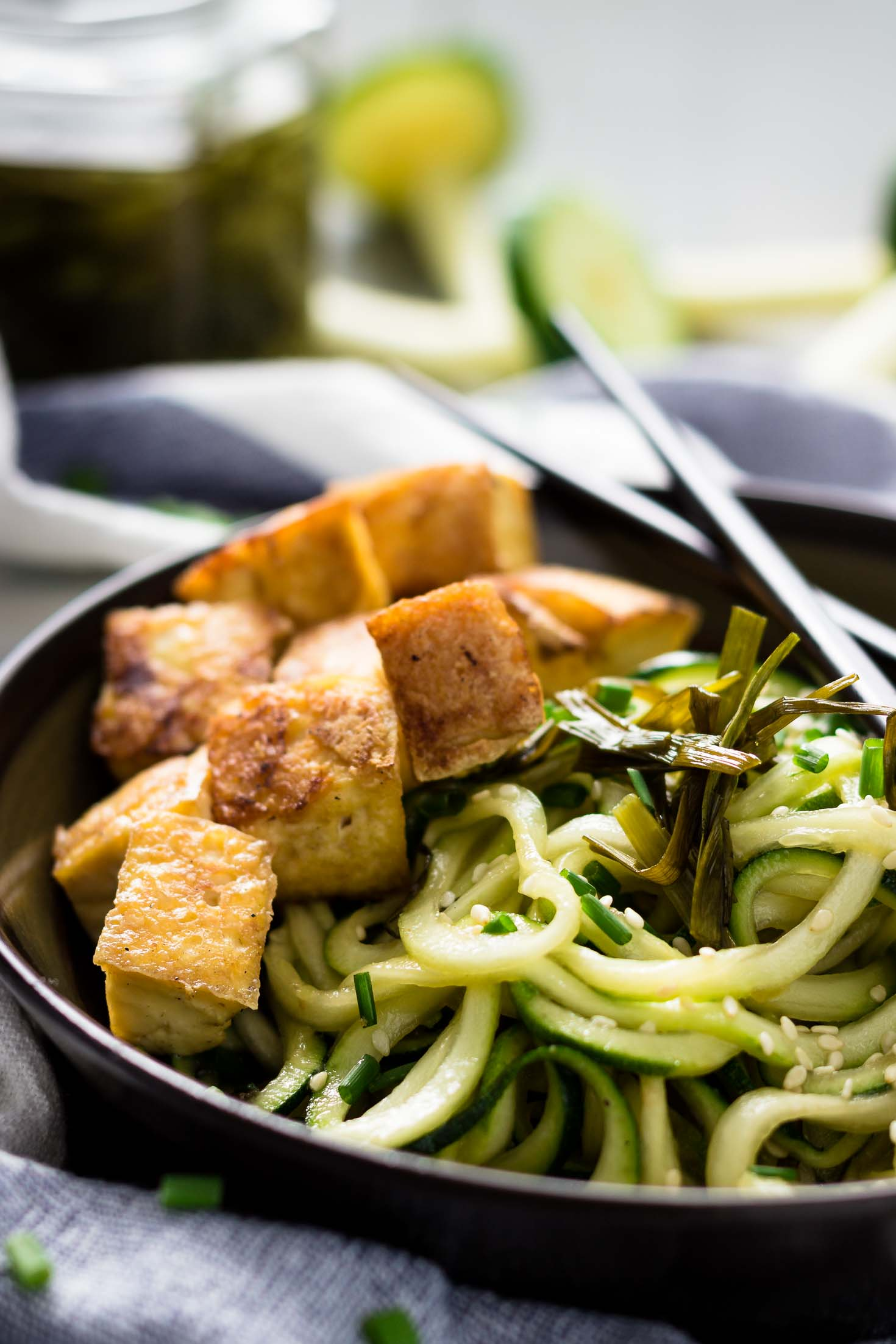Chive Oil Zucchini Noodles with Roasted Tofu