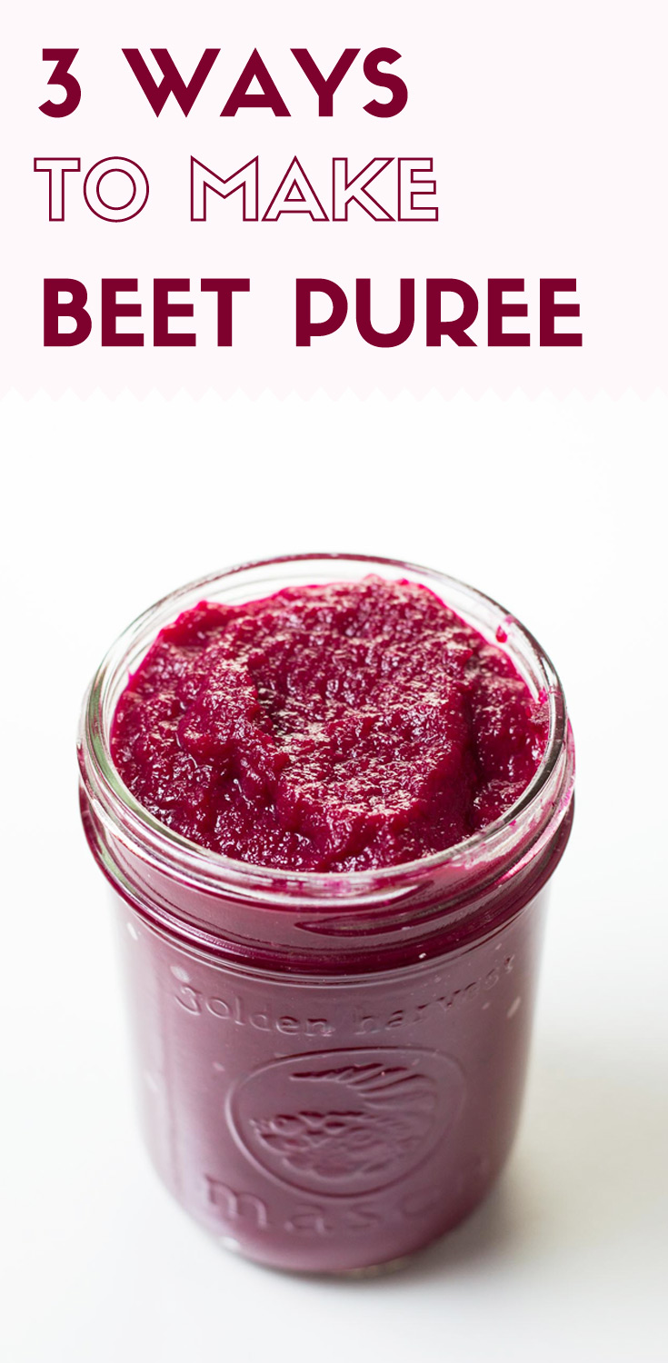3 Ways to Make Beet Puree-front top view-beet puree in a glass jar