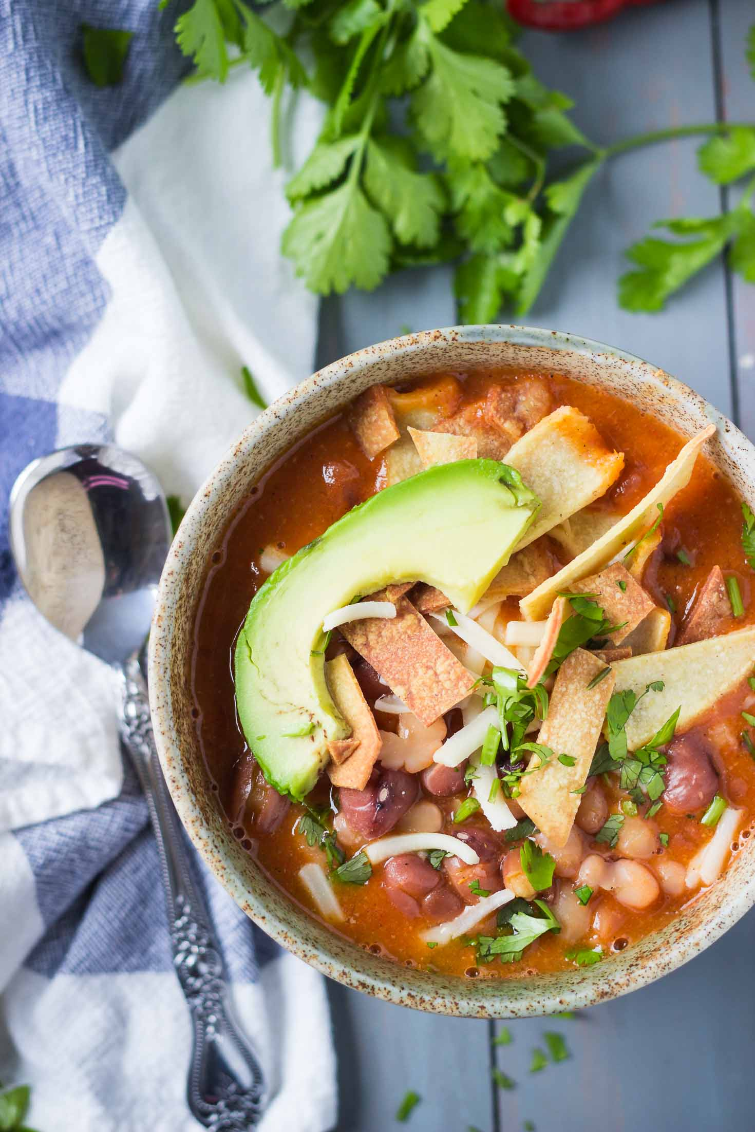 3-Bean Vegan Enchilada Soup-cilantro-avocado-spoon-top view