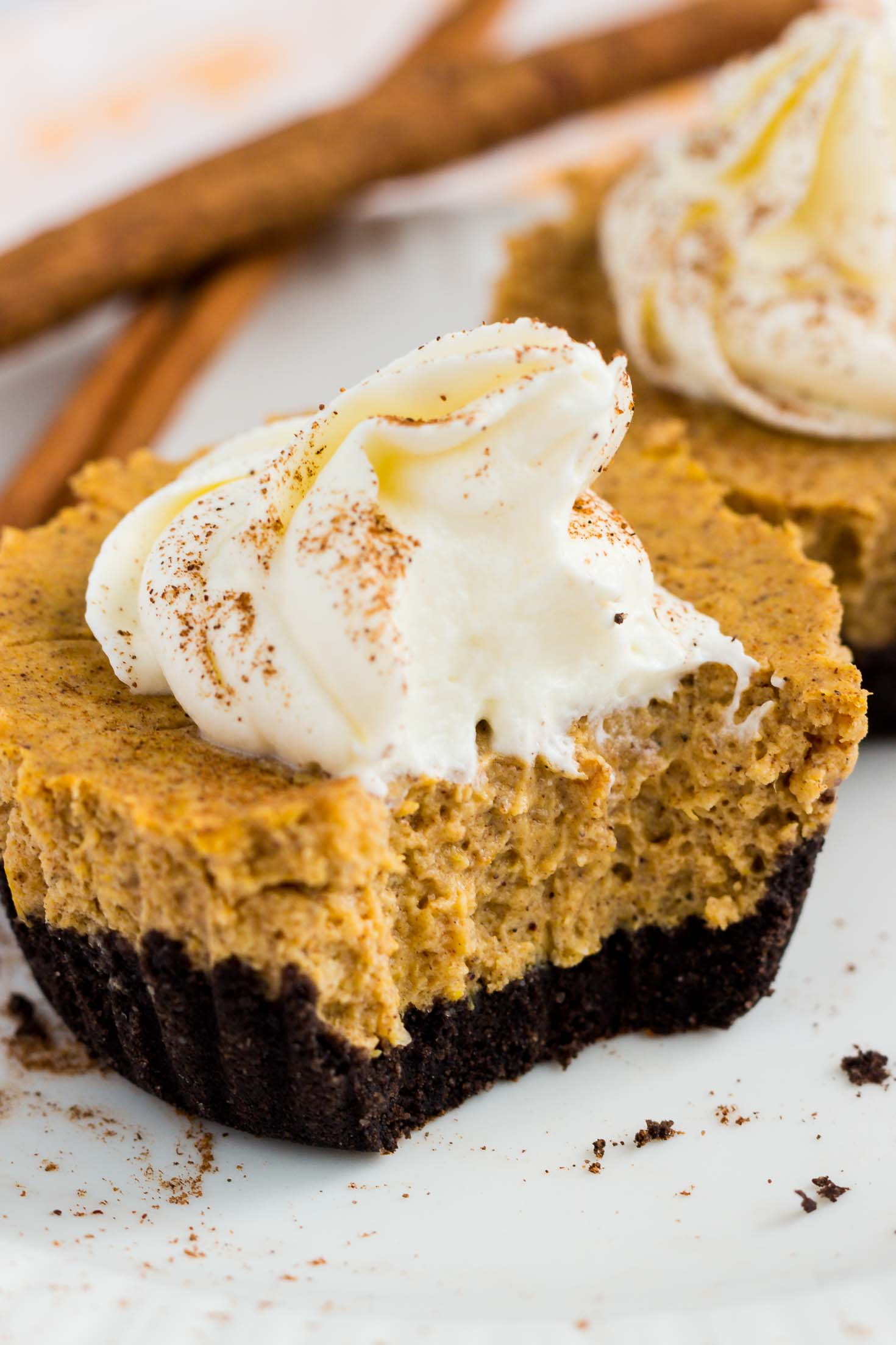 Chocolate-Bottom Pumpkin Mini Cheesecakes-closeup sideview showing inside texture