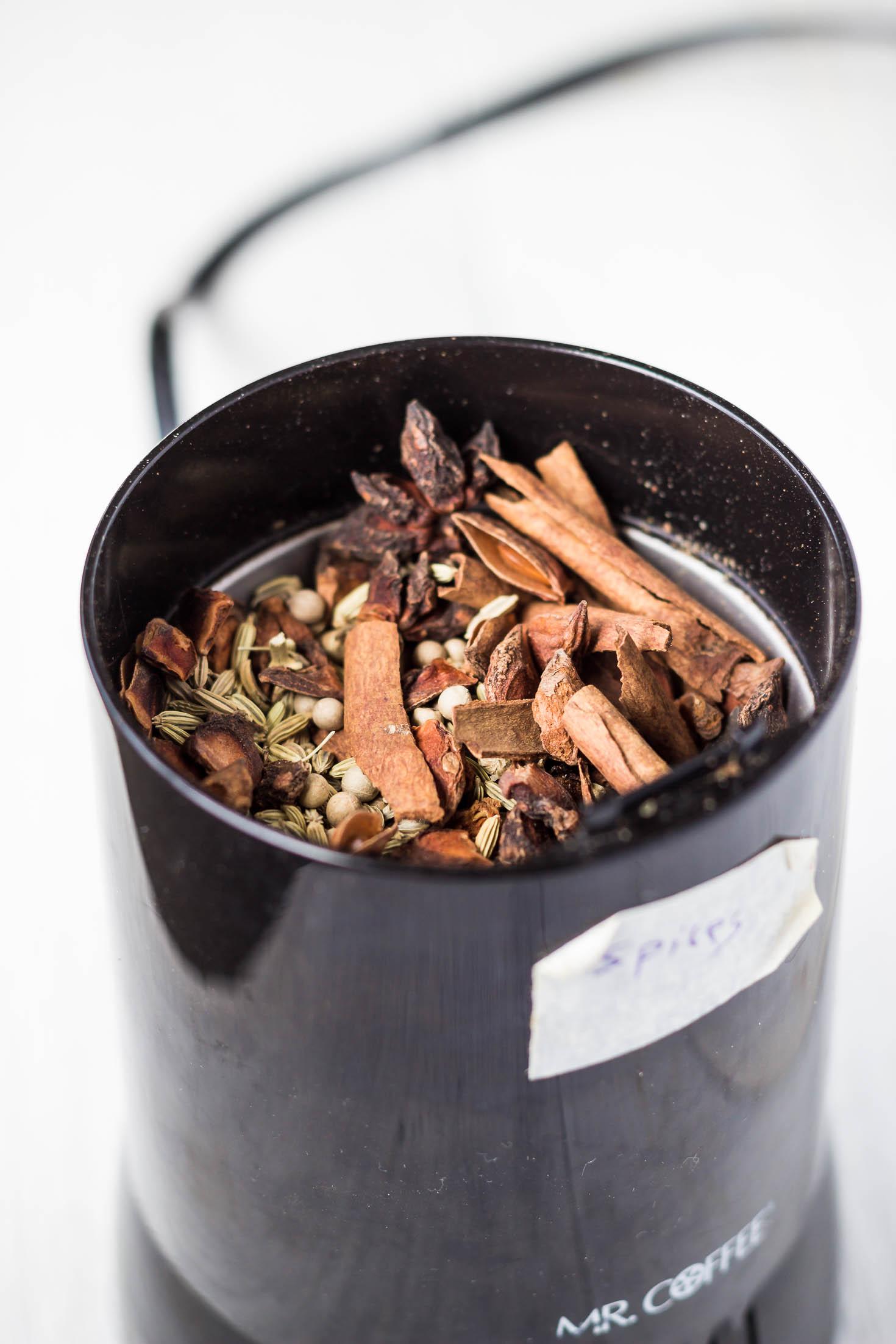 Chinese 5-Spice Powder-ingredients in coffee grinder