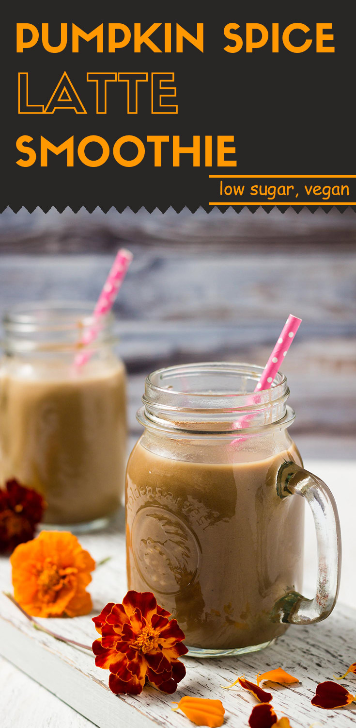 front view of two jars of pumpkin spice latte smoothie, large long image for Pinterest