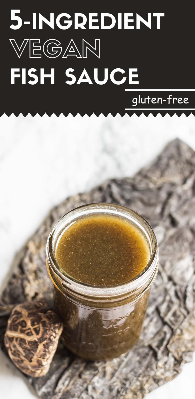 5-Ingredient Vegan Fish Sauce-side view-long image- with shiitake mushroom and seaweed